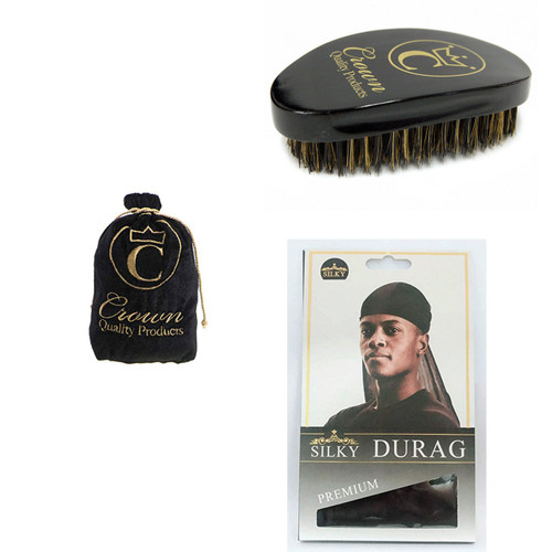 Black Crown Brush,Black Brush Bag,Black Silky Durag