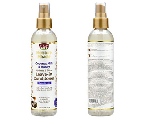 African Pride Moisture Miracle Coconut Milk and Honey Hydrate & Shine Leave- in Conditioner 8oz