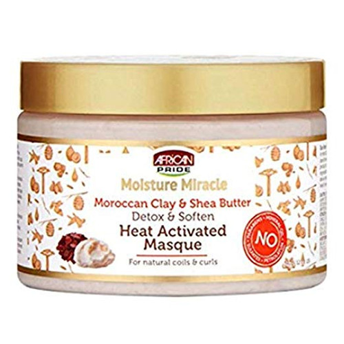 African Pride Moisture Miracle Moroccan Clay & Shea Butter Heat Activated Masque 12oz