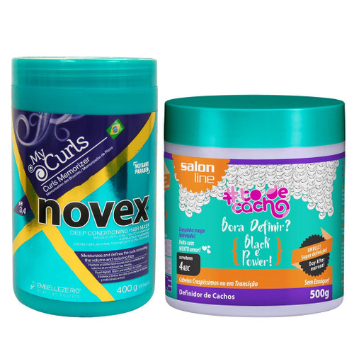 Novex My Curl Hair Mask 14.1oz & Salon Line Bora Definir Black é Power 500g