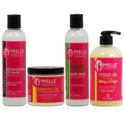 "Mielle Organics Detangling Co Wash & Babassu Oil Conditioner & Hair Milk 8oz & Styling Gel 13oz ""Combo"""