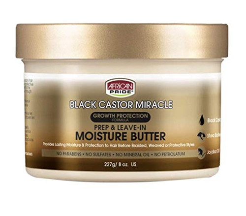 AFRICAN PRIDE BLACK CASTOR MIRACLE PREP & LEAVE IN MOISTURE BUTTER 8OZ