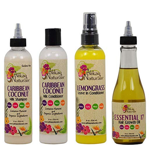 Alikay Naturals Caribbean Coconut Milk Shampoo,Conditioner,Leavein-Cond and Growth Oil