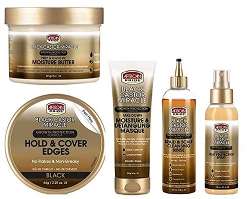 African Pride Black Castor Miracle Edge-Gel&Masque&Rinse&Spray&Moisture-Butter