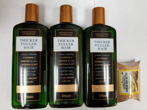 3PACK OF Thicker Fuller Revitalising Shampoo 12oz With 1Pack Of African Shea Butter