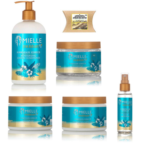 Mielle Moisture Rx Hawaiian Ginger Moisturizing Leave-In Conditioner, Styling Gel, Hair Butter, Overnight Conditioner and Scalp Treatment with African Shea Butter