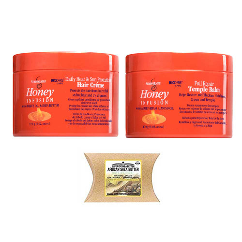 Strong Ends Temple Balm and Hair Cream Set with African Shea Butter