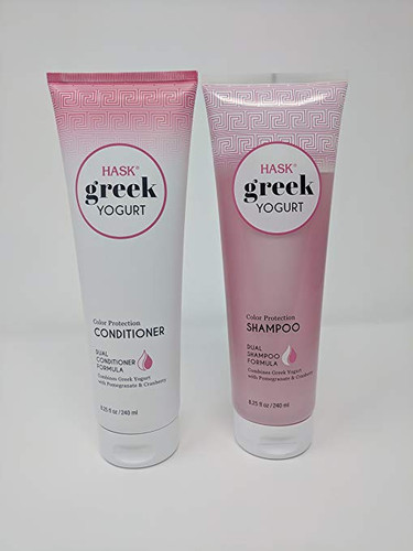HASK Greek Yogurt Pomegranate & Cranberry Color Protection Shampoo and Conditioner Set Pack of 1 Each 8.25 fl. Oz