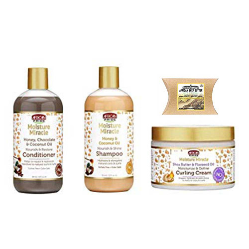African Pride Moisture Miracle Combo (Shampoo, Conditioner & Curling Cream) with African Shea Butter