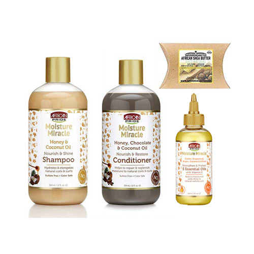 African Pride Moisture Miracle Combo (Shampoo, Conditioner & Essential Oils) with African Shea Butter