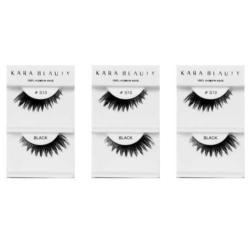 Kara Beauty 100% Human Hair  Eyelashes- S10 (Pack of 3)
