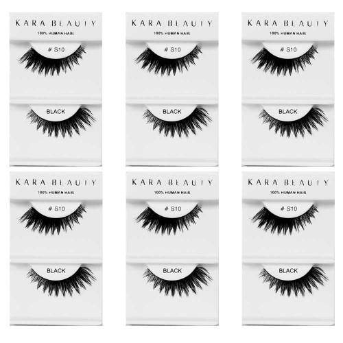 Kara Beauty 100% Human Hair  Eyelashes- S10 (Pack of 6)