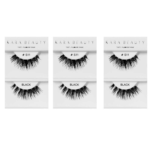 Kara Beauty 100% Human Hair  Eyelashes- S11 (Pack of 3)