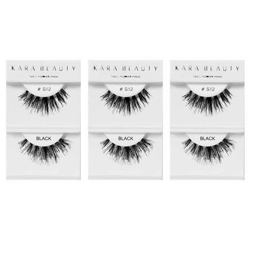 Kara Beauty 100% Human Hair  Eyelashes- S12 (Pack of 3)