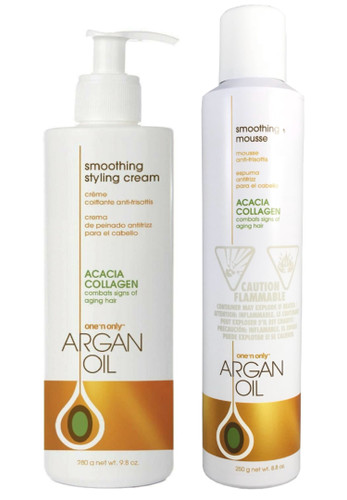 One' N Only Argan Oil With Acacia Collagen Smoothing Styling Cream 9.8 oz and Smoothing Mousse 8.8 oz