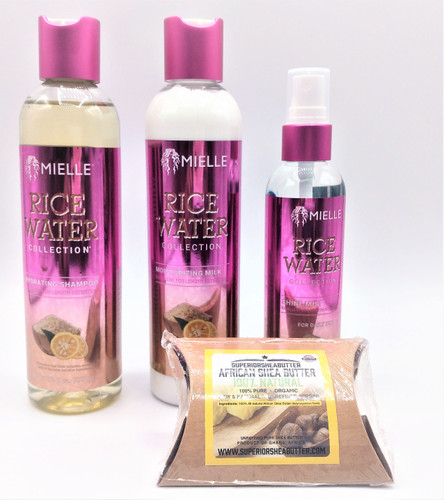 MIELLE' Rice Water Collection, Excellent Length Retention(Shampoo, Milk & Shine)