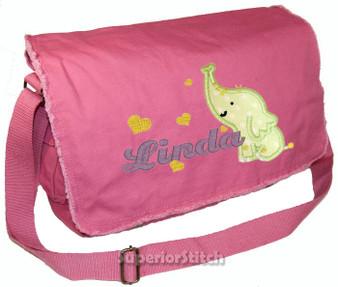 Personalized Elephant Applique Diaper Bag Applique fabric shown here is MINT
