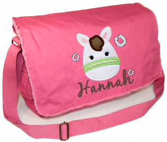 Personalized Applique Pony Head Diaper Bag Font used for name shown on diaper bag is TWENTY ONE
