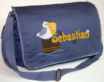 Personalized Applique Pelican Diaper Bag Font shown on diaper bag is SPLASH