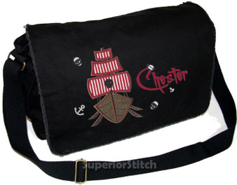 Personalized Applique Pirate Ship Diaper Bag Font shown on diaper bag is CHARMING