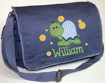Personalized Applique Turtle Diaper Bag Font used for name shown on diaper bag is APPLE BUTTER