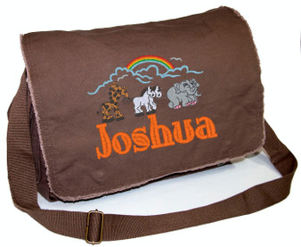 Personalized Moon and Stars Diaper Bag Font shown on diaper bag is ELEPHANT