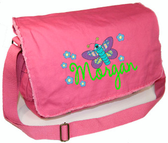 Personalized BUTTERFLY & FLOWERS Diaper Bag Font shown on diaper bag is AMELIE