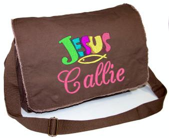 Personalized JESUS Diaper Bag Font shown on diaper bag is BRIDAL PATH
