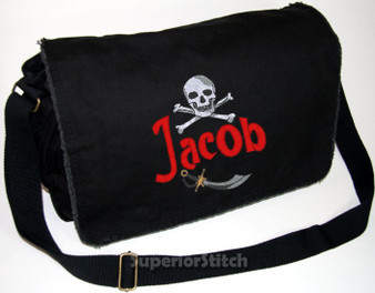 Personalized SKULL Diaper Bag Font shown on diaper bag is SWASHBUCKLE
