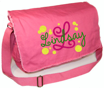 Personalized Polka Dot Diaper Bag Font shown on bag is AMELIE