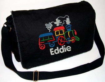 Personalized SMALL TRAIN Diaper Bag Font shown on bag is ELIZABETH BLOCK