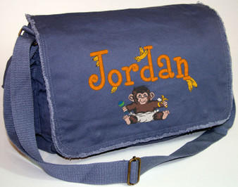 Personalized BABY MONKEY Diaper Bag Font shown on diaper bag is BOYZ