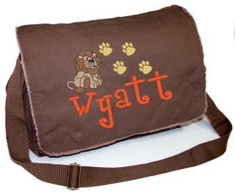 Personalized LION Diaper Bag Font shown on diaper bag is BOYZ