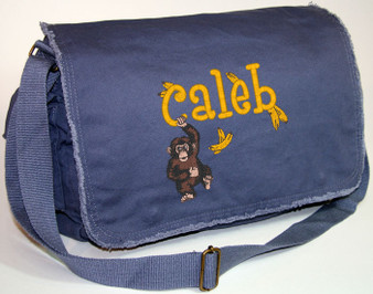 Personalized HANGING MONKEY Diaper Bag Font shown on diaper bag is BOYZ