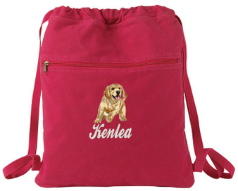 Golden Retriever Cinch Bag Font shown on bag is BALLPARK SCRIPT