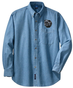 Pug Denim Shirt Front Left Chest