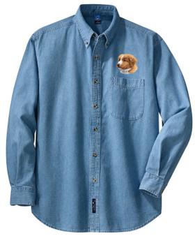 Nova Scotia Duck Toller Denim Shirt Front Left Chest