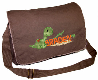 Personalized Brontosaurus Applique Diaper Bag Applique fabric shown here is CAVEMAN