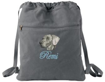Weimaraner Cinch Bag Font shown on bag is EDWARD SCRIPT