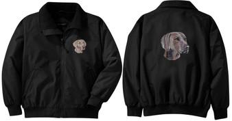 Weimaraner Jacket Back and Front Left Chest