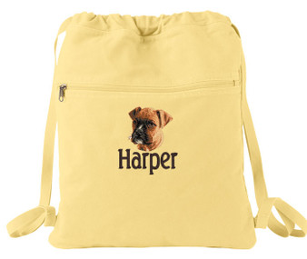 Boxer Cinch Bag Font shown on bag is BEECH