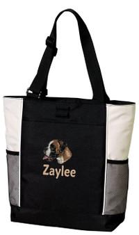 Boxer Tote Font shown on bag is ELIZABETH BLOCK