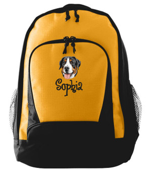 Greater Swiss Mountain Dog Backpack Font shown on bag is ANGELIC