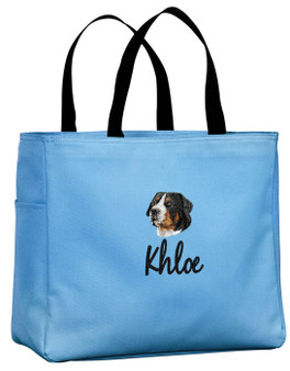 Greater Swiss Mountain Dog Tote Font shown on tote is TWENTY ONE