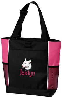 Bull Terrier Tote Font shown on bag is Harringtown