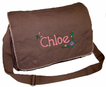 Personalized Flowers Diaper Bag Font shown on diaper bag is APPLE BUTTER