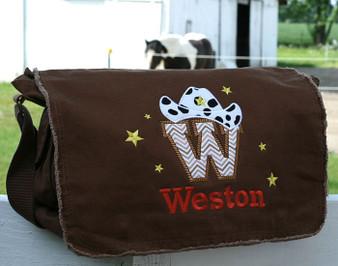 Personalized Applique Cowboy Letter Diaper Bag Font choice does not affect cowboy letter