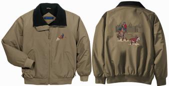 Calf roping jacket front and back