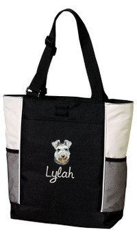 Schnauzer Panel Tote Font shown on bag is Rebecca