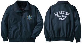 EMT Jacket with design on front and lettering on back